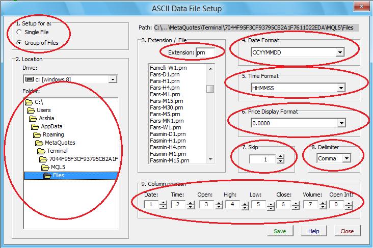 تنظیمات ASCII داینامیک تریدر