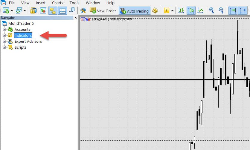 مسیر اندیکاتور در قسمت راهبری متاتریدر | تصویر اول از آموزش انتقال دیتا از متاتریدر به دیگر نرم افزارها