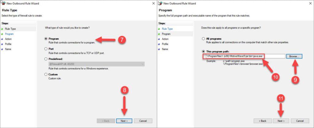 صفحات اول و دوم از برنامه ویزارد تنظیم قانون فایروال برای کانکشن های خروجی