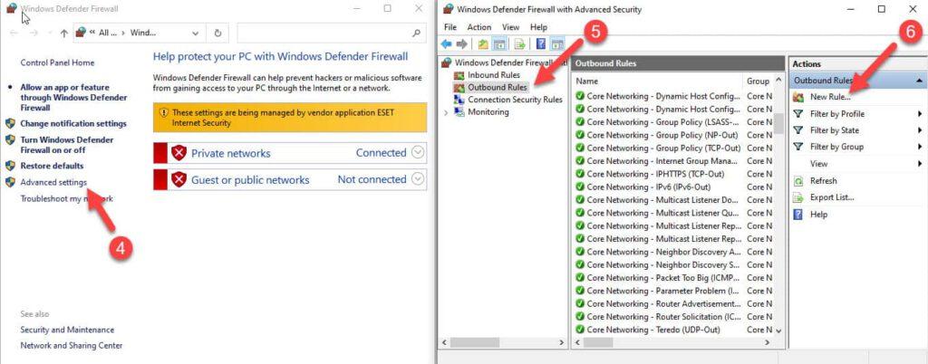 پنجره بررسی وضعیت فایروال ویندوز و پنجره تنظیمات پیشرفته فایروال برای رفع مشکل کندی نرم افزار موتیوویو